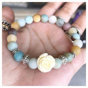 Genuine matte amazonite beads white rose bracelet